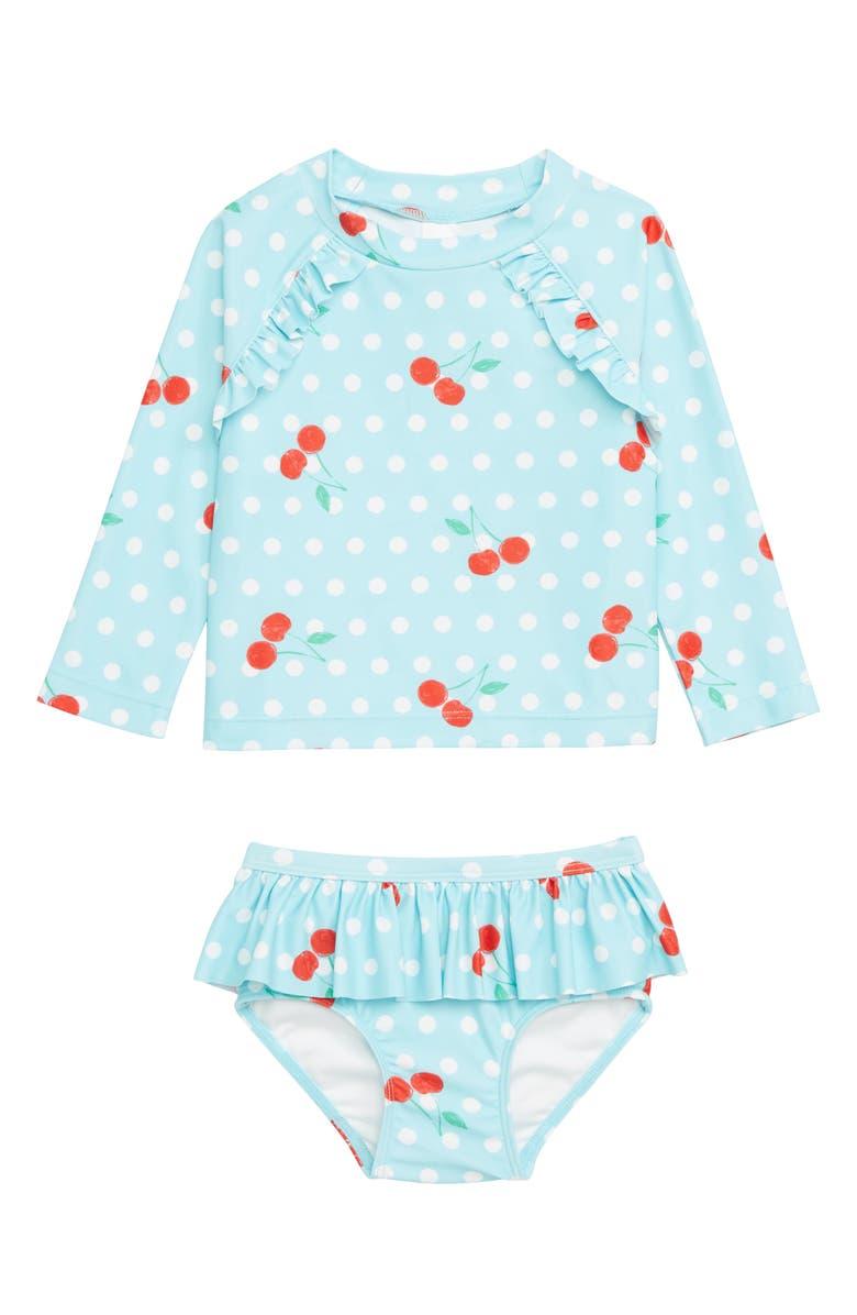 e660607729 Two-Piece Ruffle Rashguard Swimsuit, Main, color, TEAL SPLASH CHERRY DOT