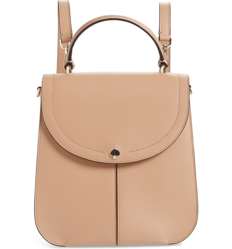 KATE SPADE NEW YORK medium andi leather convertible backpack, Main, color, LIGHT FAWN