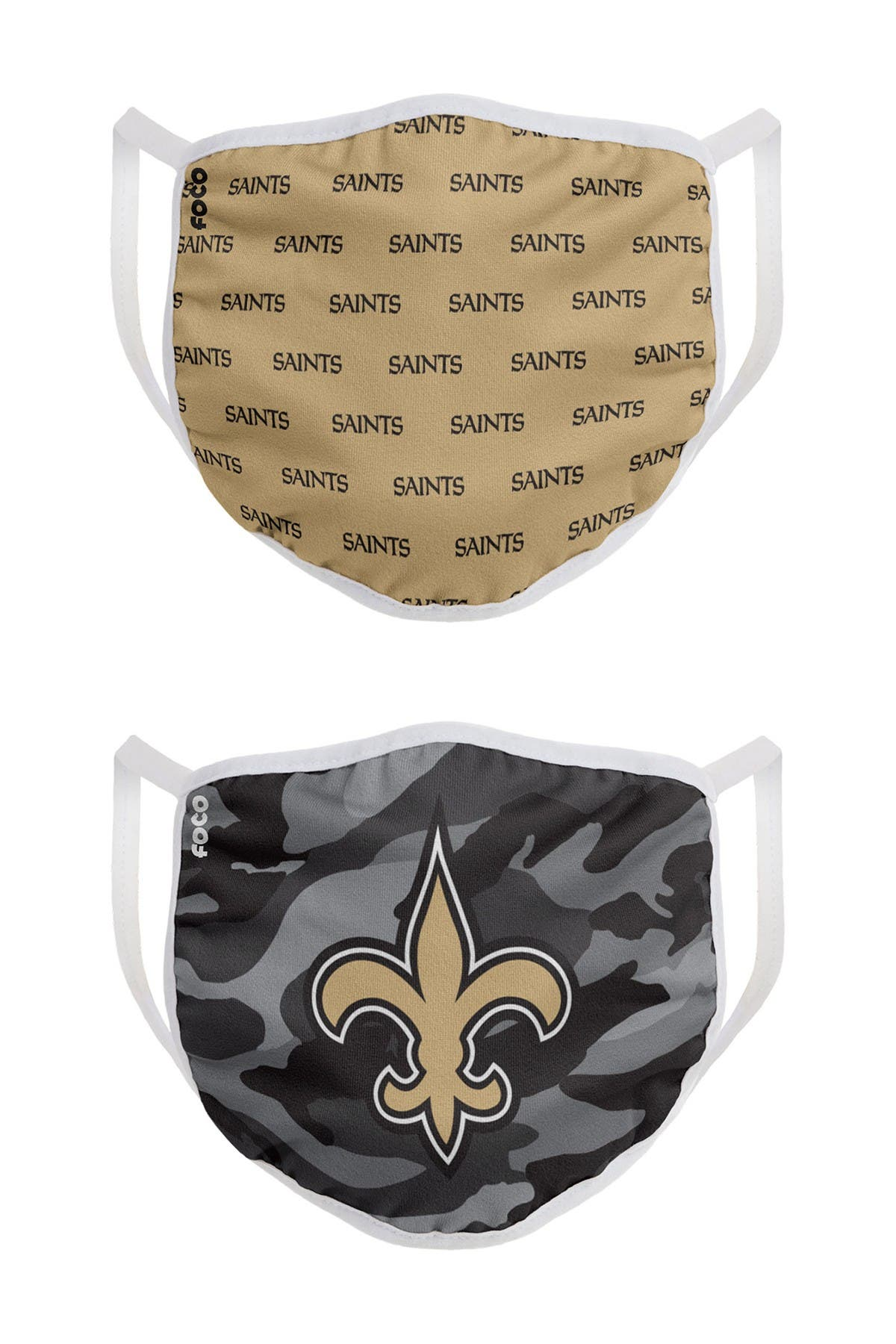 Image of FOCO NFL New Orleans Saints Clutch Printed Face Cover - Pack of 2