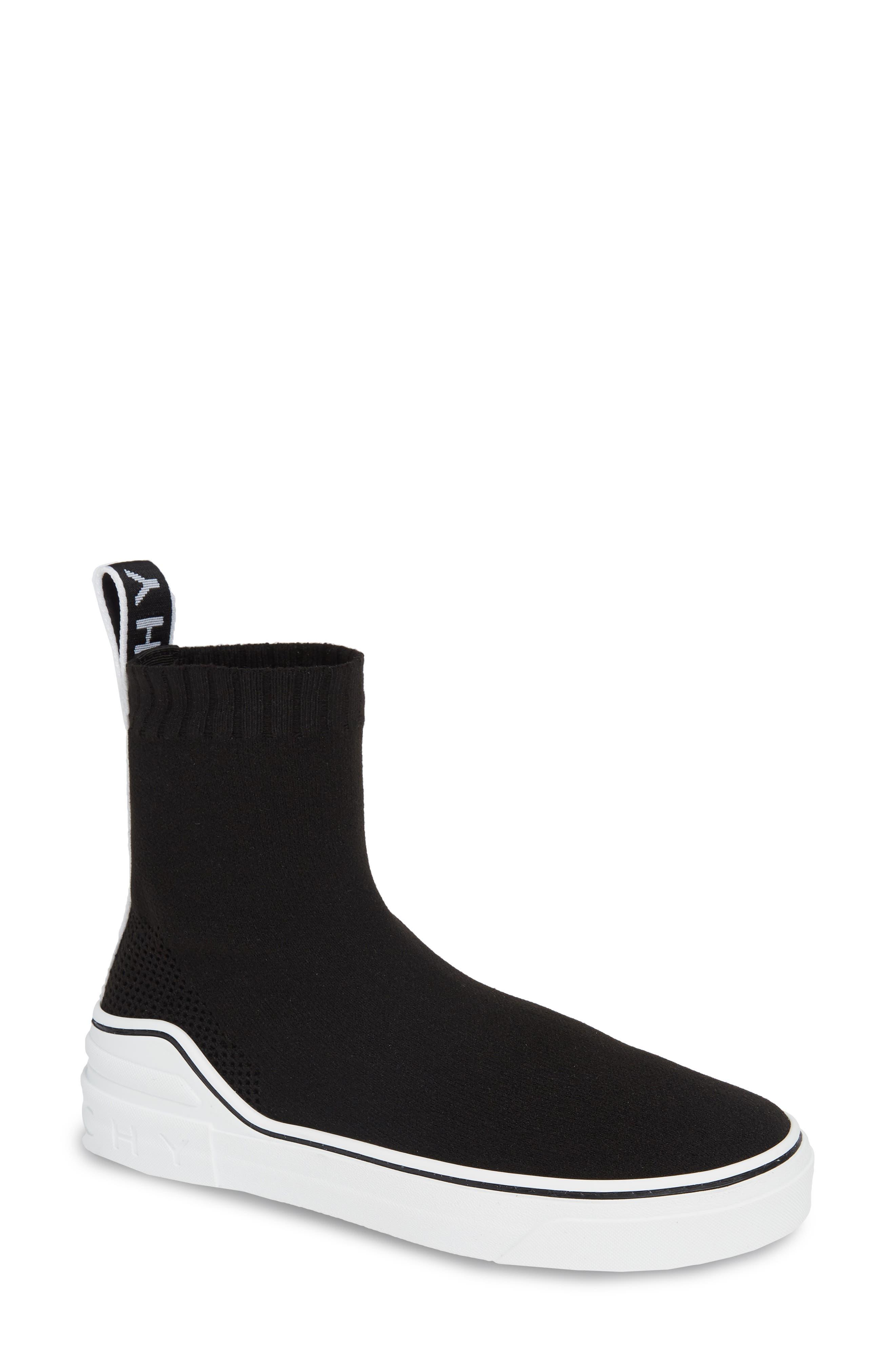 George V Hi Sock Sneaker, Main, color, BLACK