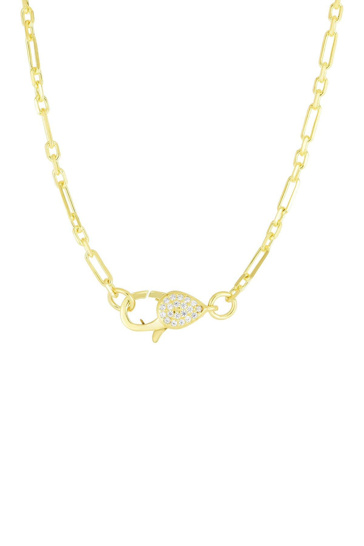 Image of Sphera Milano 14K Yellow Gold Plated Sterling Silver Over Size Pave CZ Clasp Chain Necklace