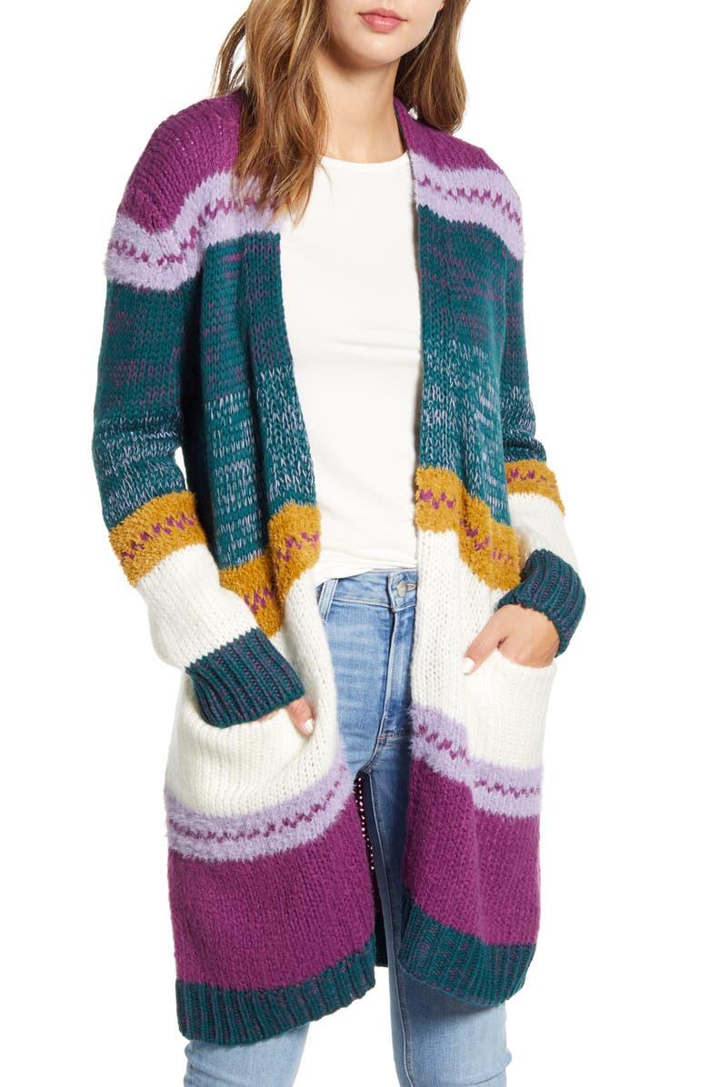 CASLON<SUP>®</SUP> Stripe Long Cardigan, Main, color, PURPLE MULTI STRIPE