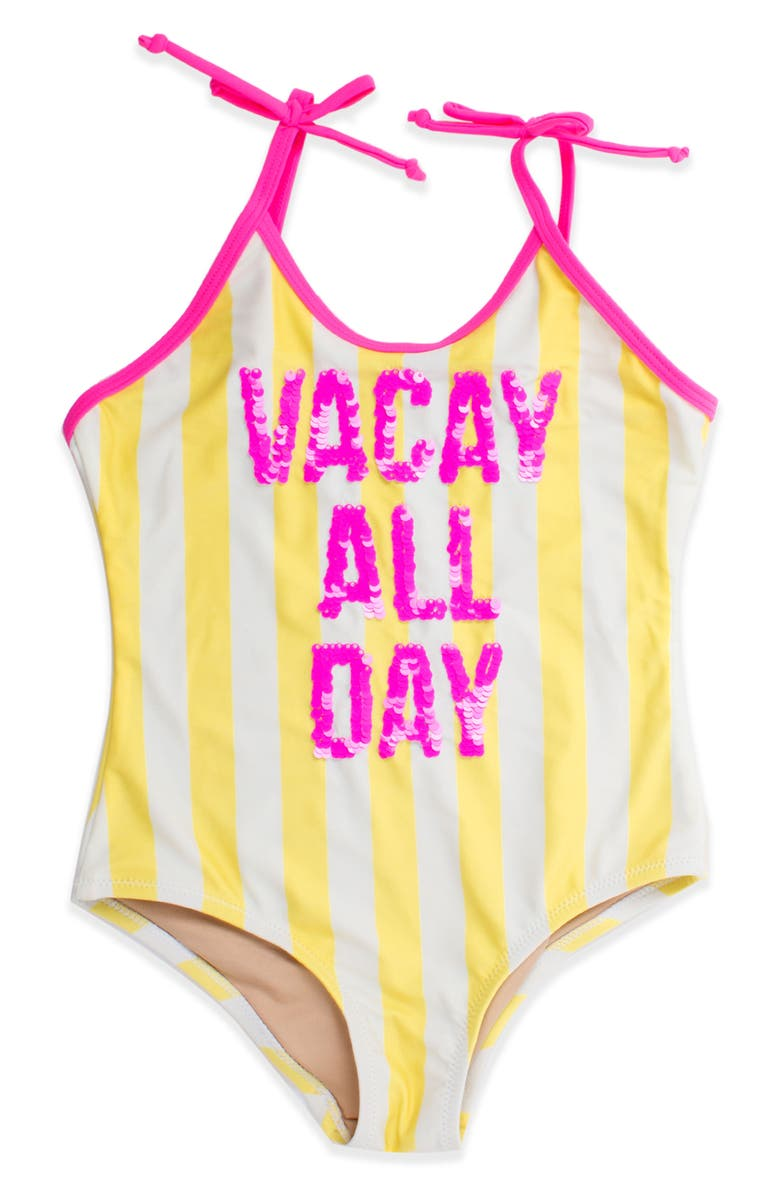 SHADE CRITTERS Reversible Sequin One-Piece Swimsuit, Main, color, YELLOW