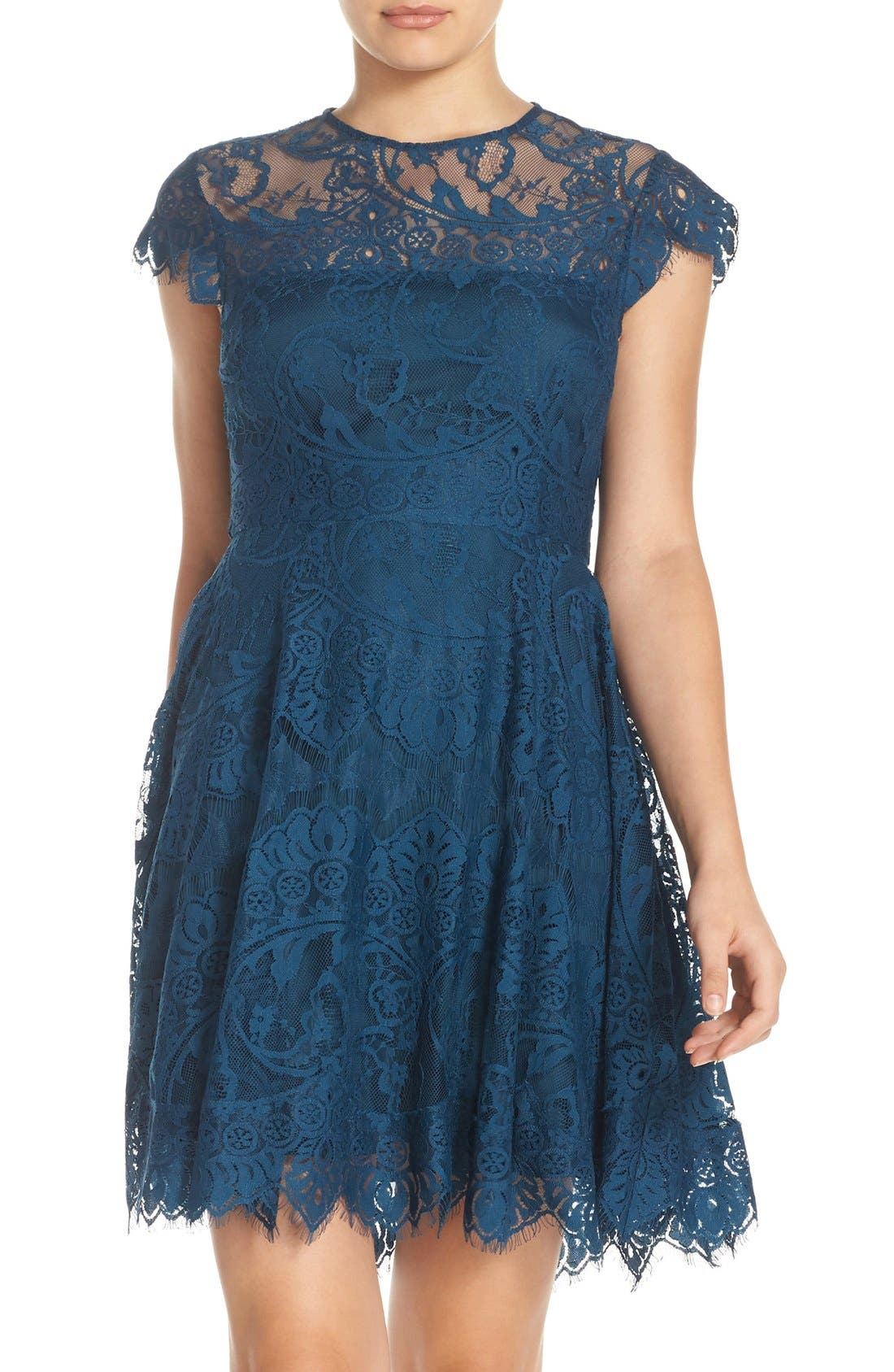 ,                             Rhianna Open Back Lace Fit & Flare Cocktail Dress,                             Alternate thumbnail 44, color,                             424