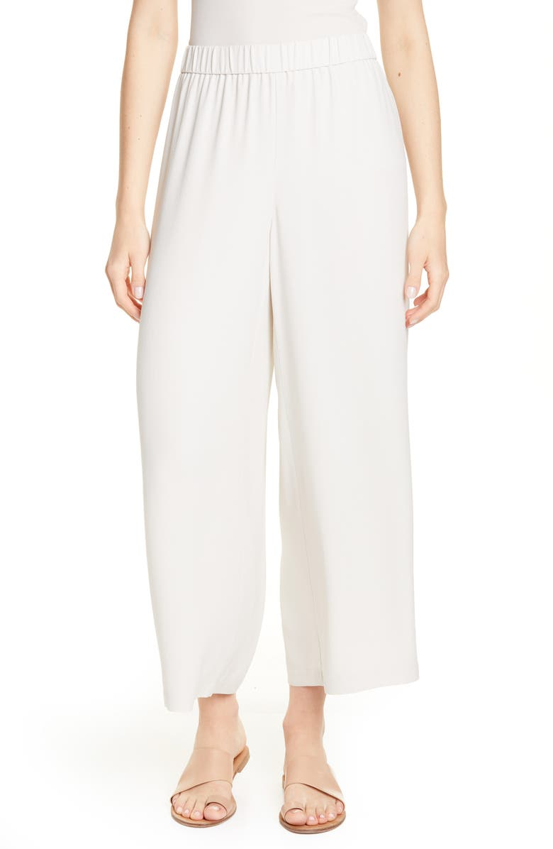 EILEEN FISHER Silk Crepe Ankle Pants, Main, color, BONE