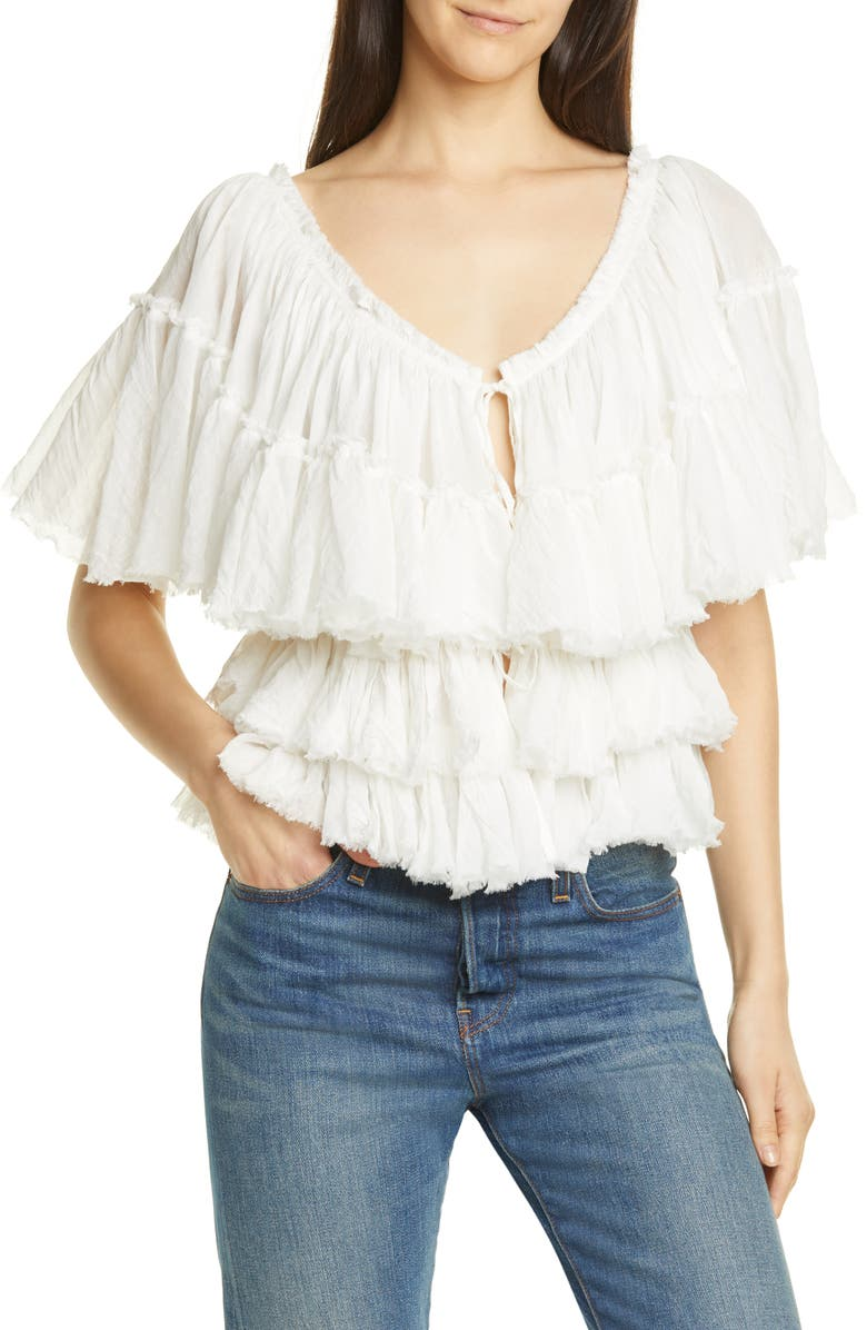 MES DEMOISELLES Orphee Tiered Ruffle Cotton Blouse, Main, color, IVORY