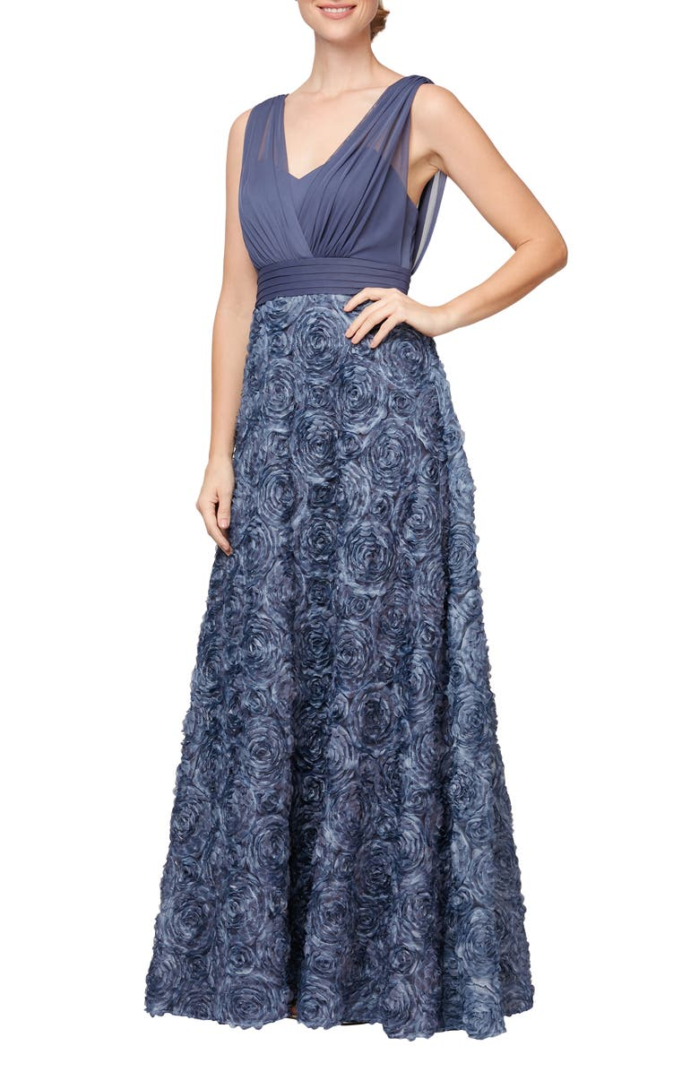 ALEX EVENINGS Rosette Chiffon Gown, Main, color, WEDGEWOOD