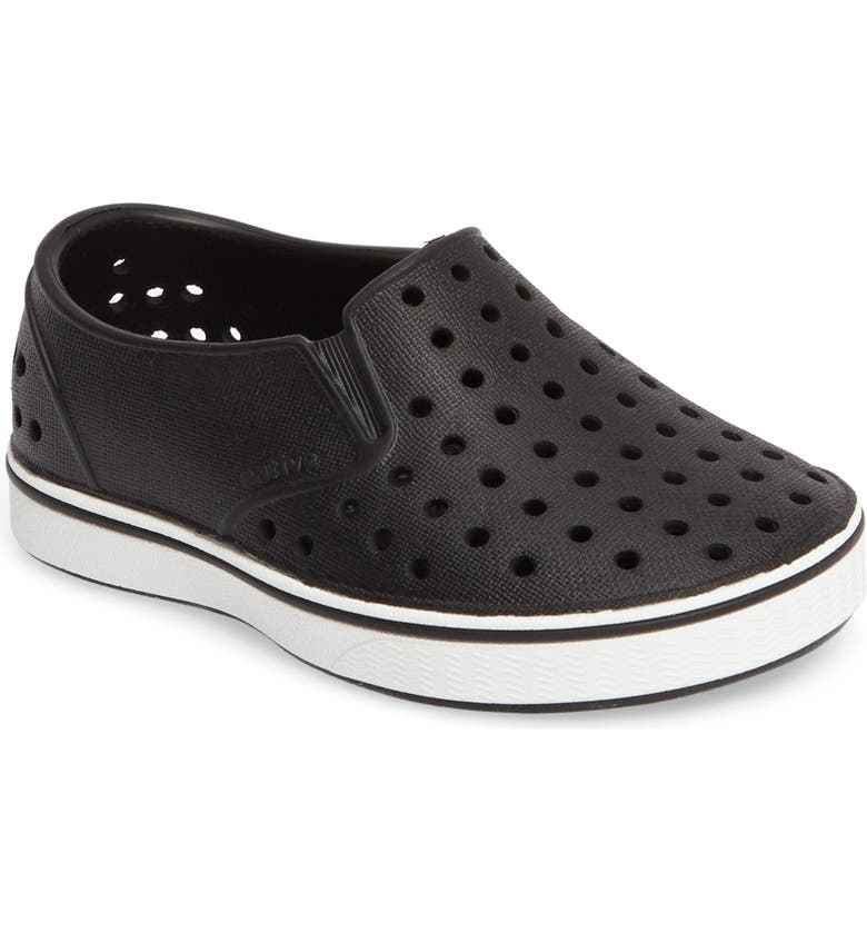 NATIVE SHOES Miles Water Friendly Slip-On Vegan Sneaker, Main, color, JIFFY BLACK/ SHELL WHITE