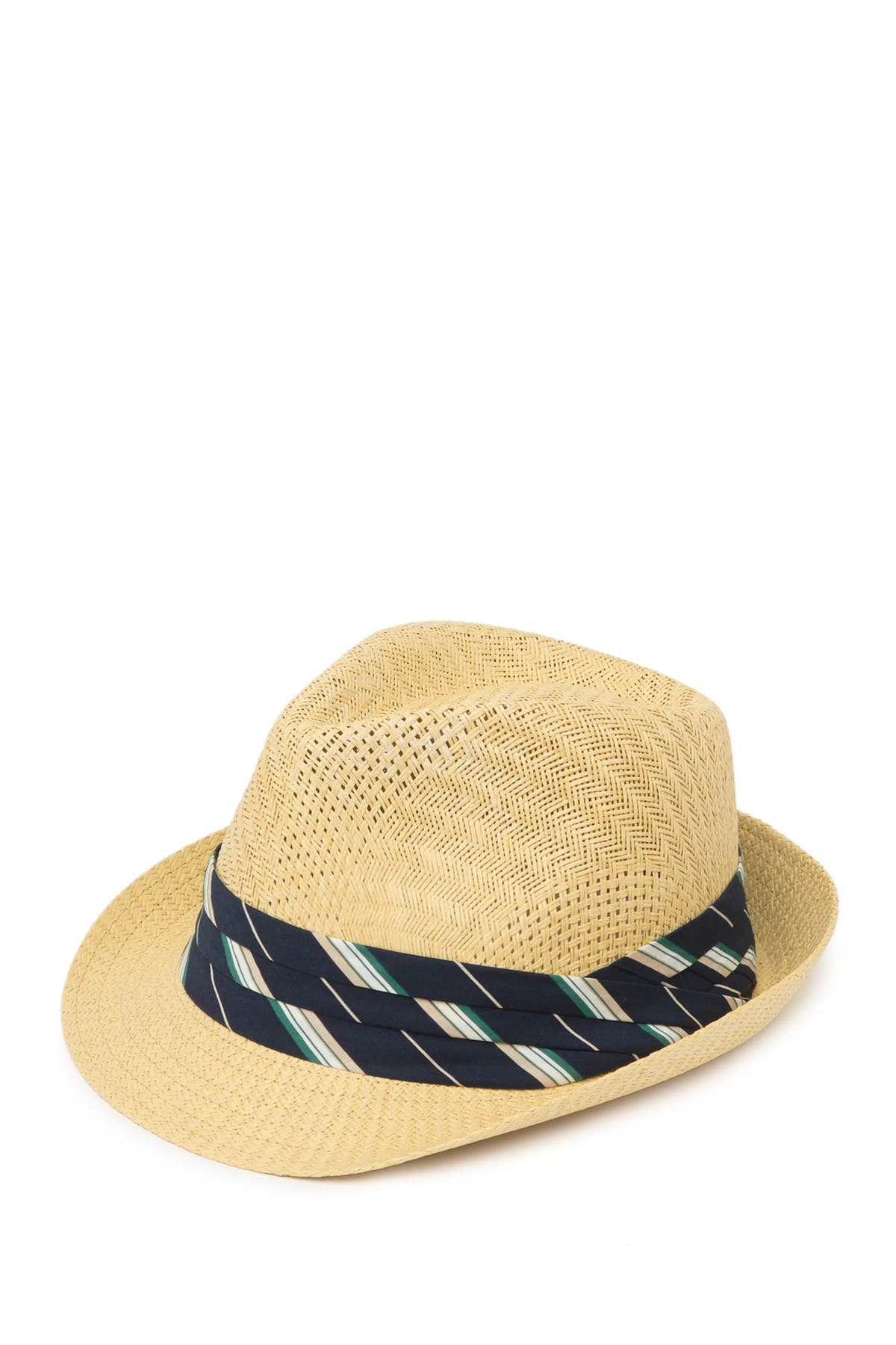 Image of SAN DIEGO HAT Pleated Striped Trim Fedora Hat