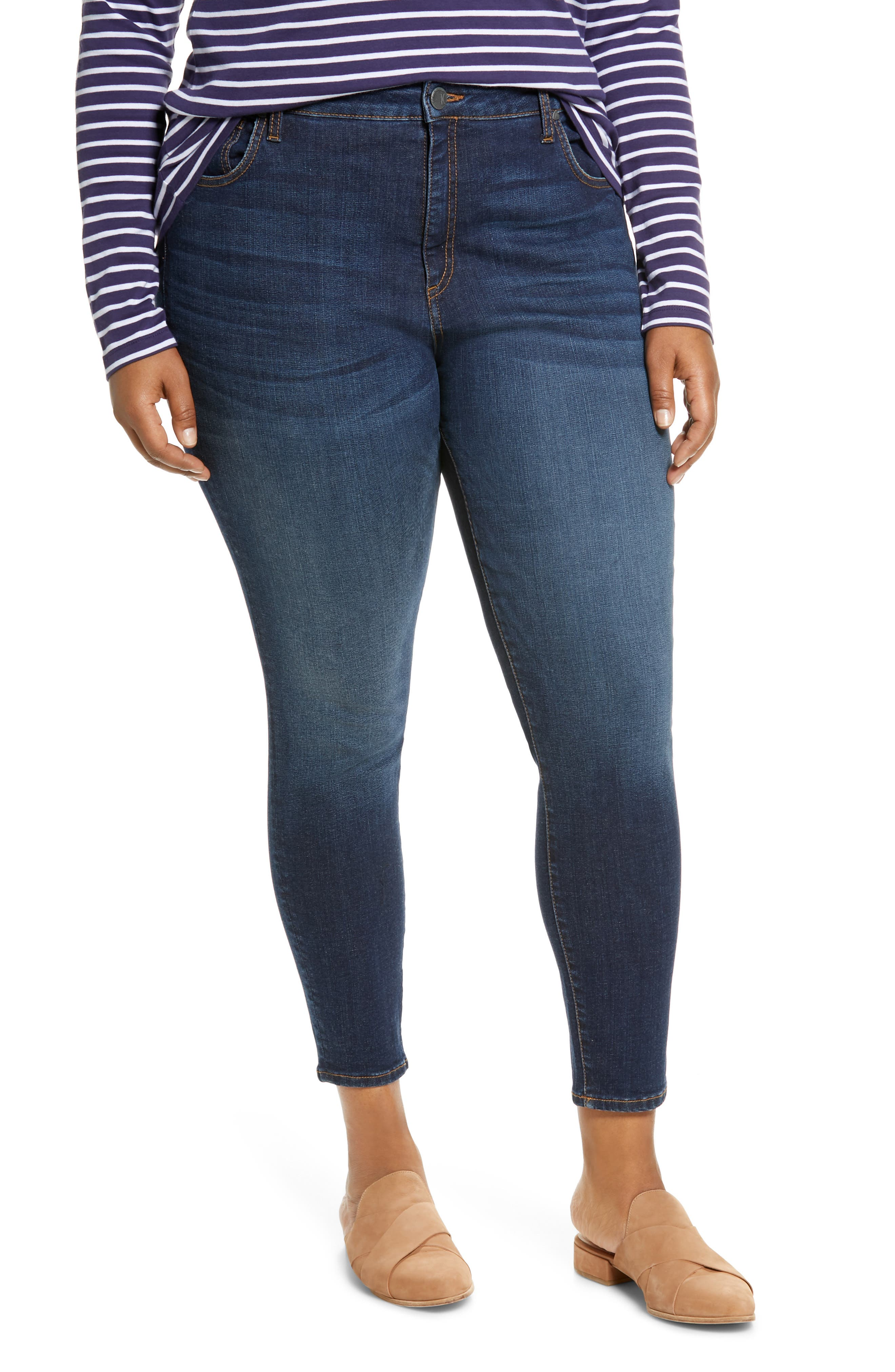 A dark-indigo wear-with-anything wash enhances the sleek fit of high-waisted skinnies made with just the right amount of stretch. Style Name: Kut From The Kloth Donna High Waist Ankle Skinny Jeans (Civic) (Plus Size). Style Number: 6057716. Available in stores.