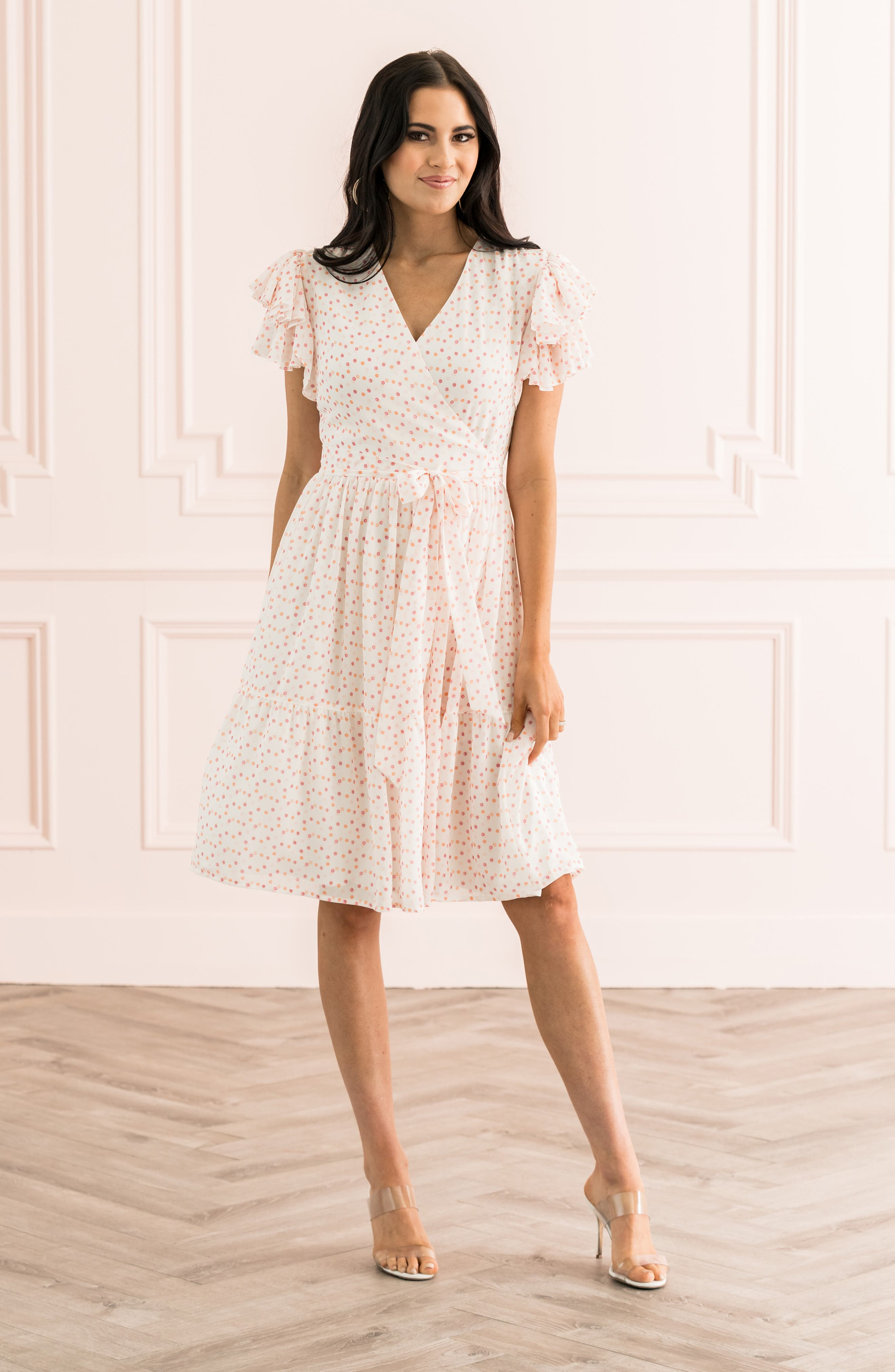 ,                             Tiered Ruffle Sleeve Dress,                             Main thumbnail 1, color,                             WHITE PAINTED DOT