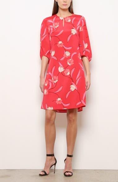 Spring Floral Print Silk Dress, video thumbnail