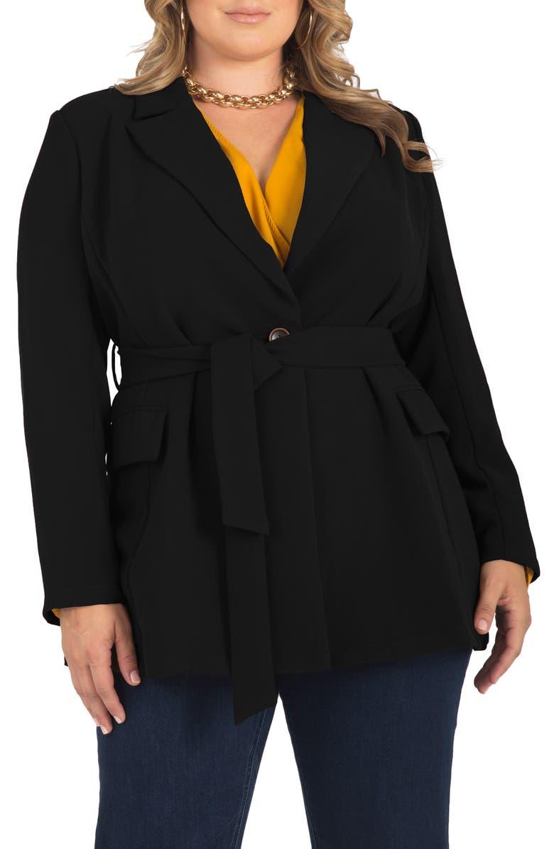 STANDARDS & PRACTICES Gina Belted Crepe Blazer, Main, color, 001