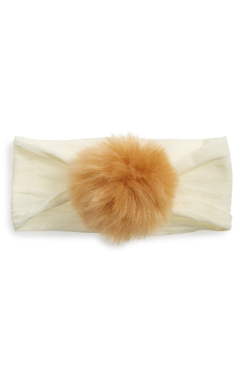 BABY BLING Faux Fur Pompom Headband, Main, color, TAN