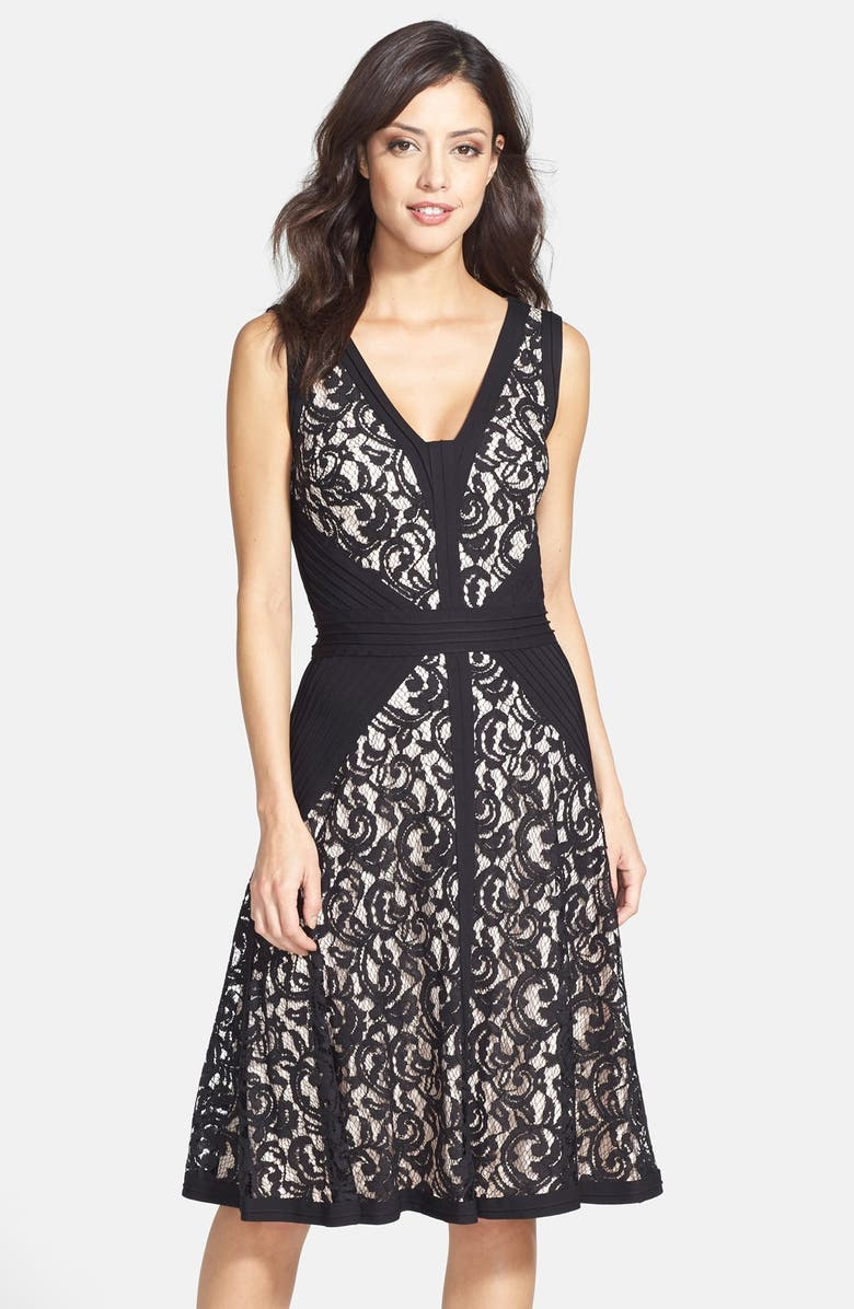 TADASHI SHOJI Lace & Jersey Fit & Flare Dress, Main, color, 002