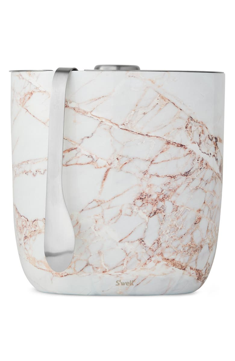 S'WELL Calacatta Gold Ice Bucket & Tongs Set, Main, color, 710
