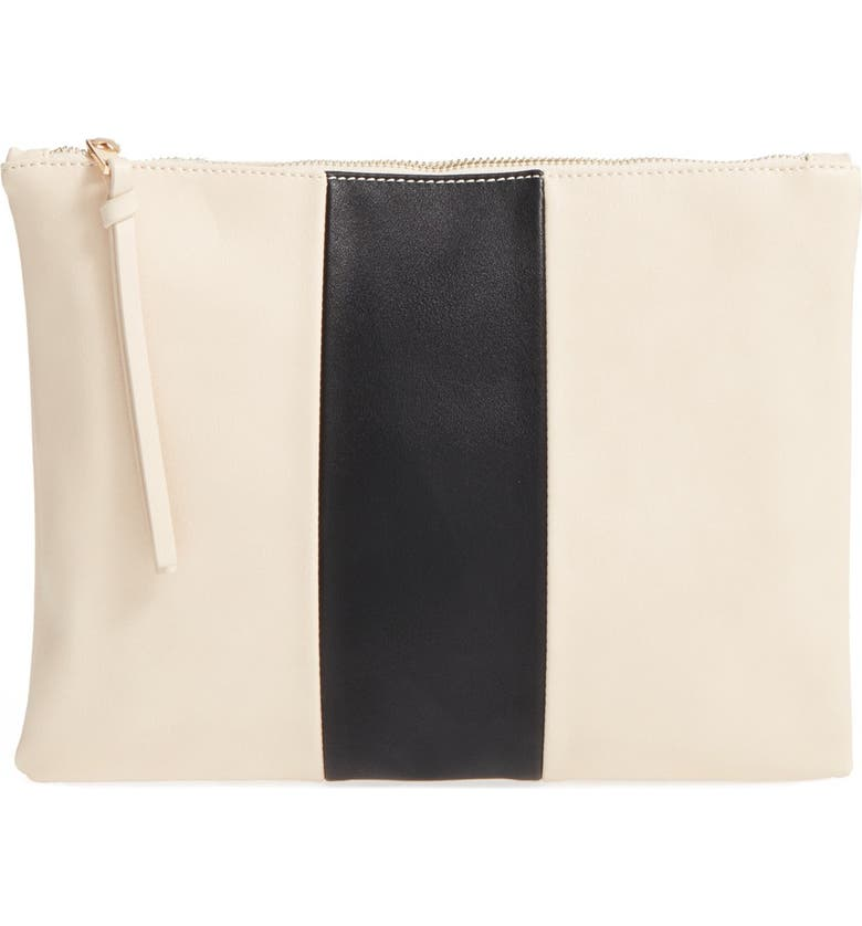 SOLE SOCIETY 'Radcliffe' Faux Leather Clutch, Main, color, 100