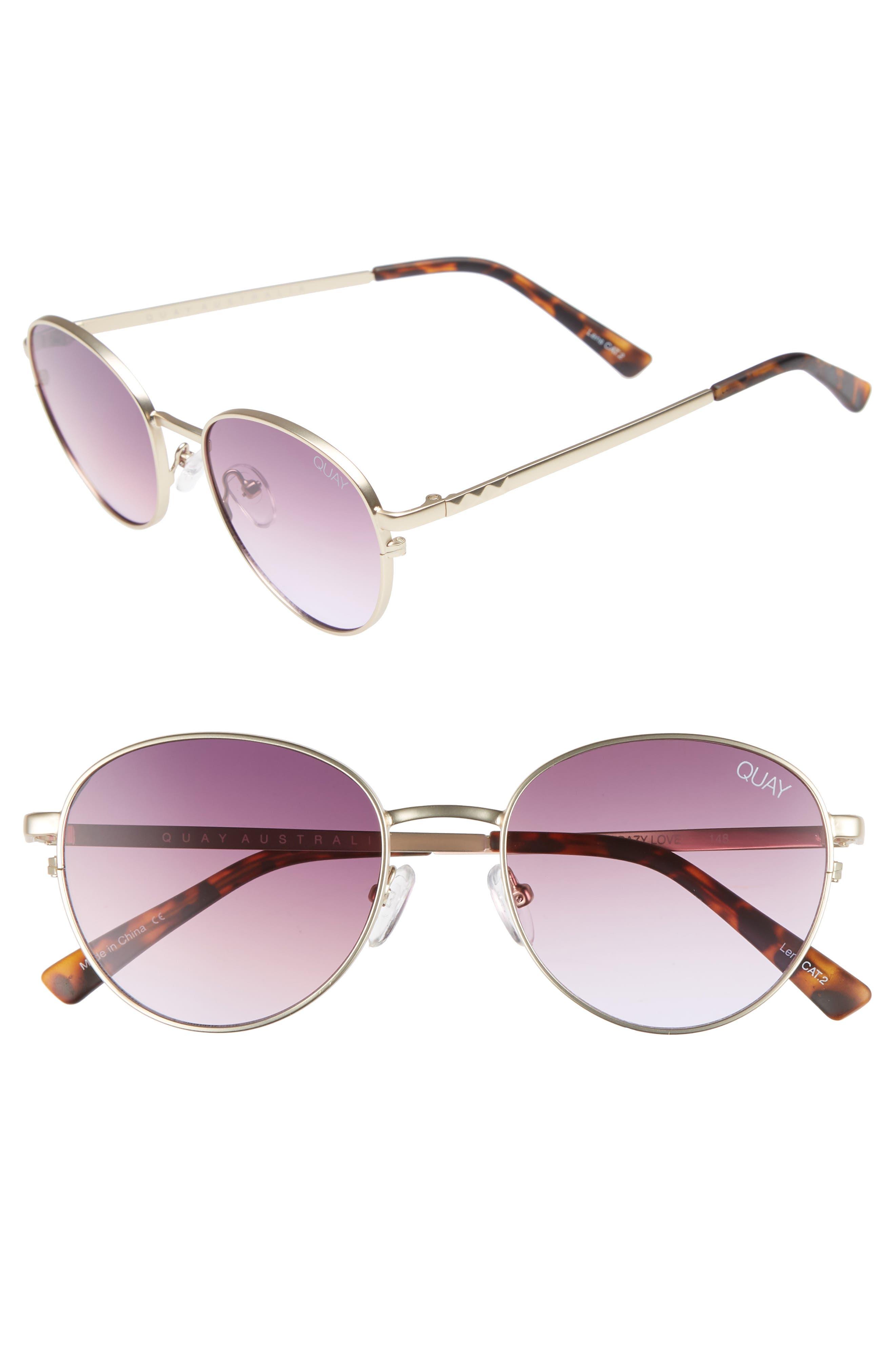 Quay Australia Crazy Love 45Mm Round Sunglasses - Gold/ Purple