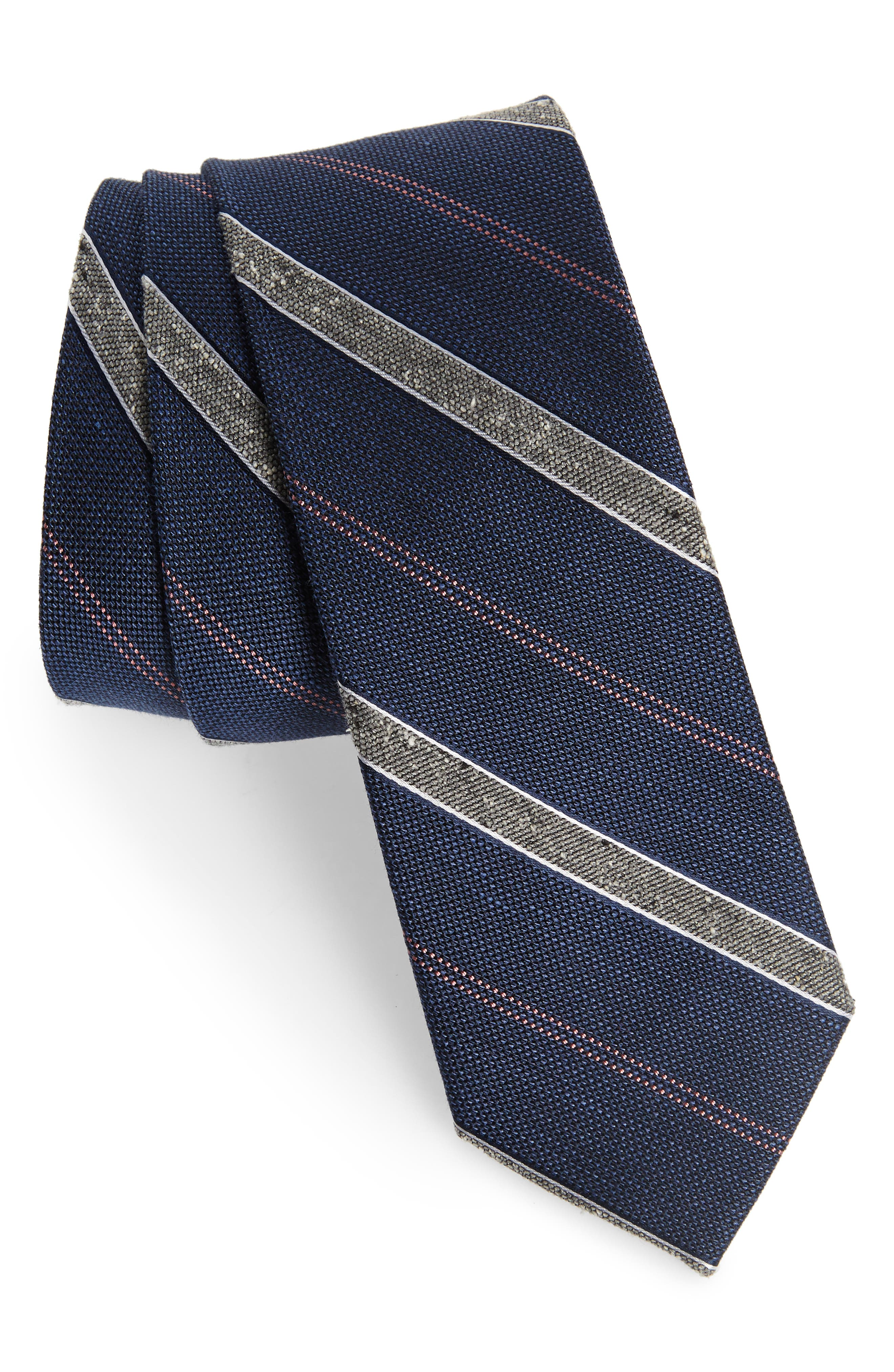 0f99772b Men's 1920s Style Ties, Neck Ties & Bowties Mens The Tie Bar Scruff Stripe  Silk