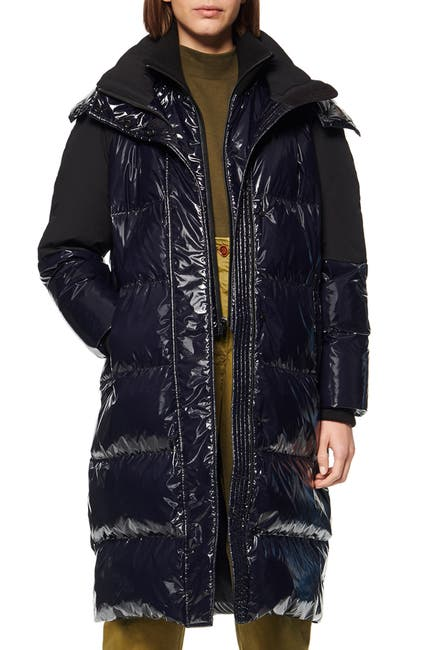 Image of Andrew Marc Shiny Down Long Puffer Jacket