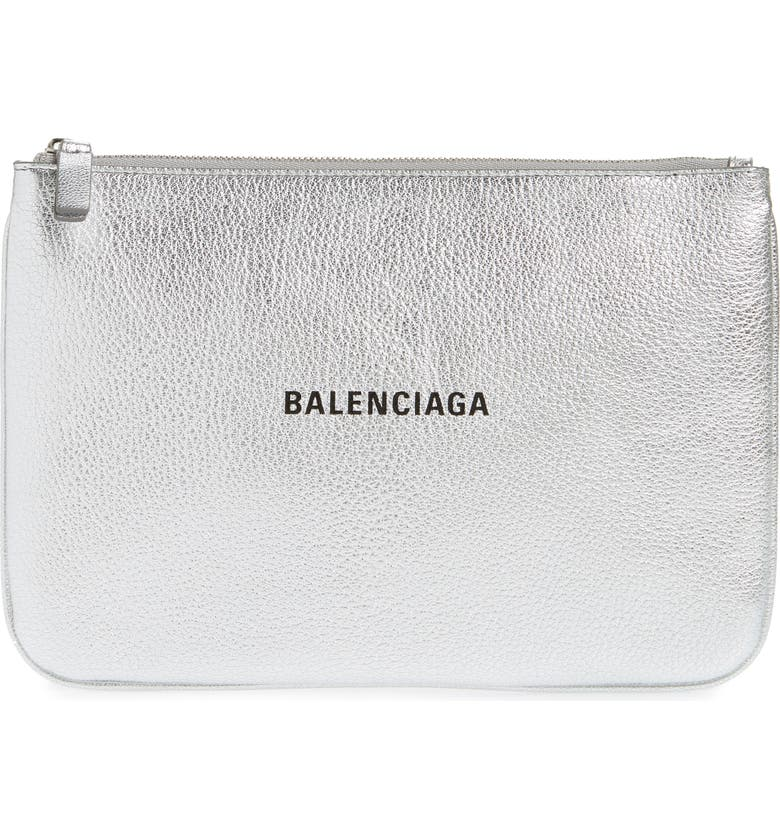 BALENCIAGA Everyday Leather Pouch, Main, color, ARGENT/ NOIR