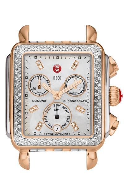 Michele Deco Diamond Diamond Dial Watch Head, 33mm X 35mm In Silver/ Black