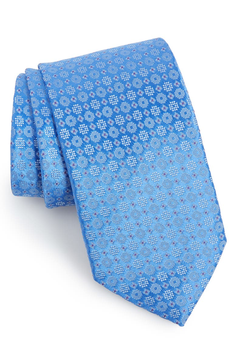 ETON Geometric Cotton Tie, Main, color, LIGHT BLUE