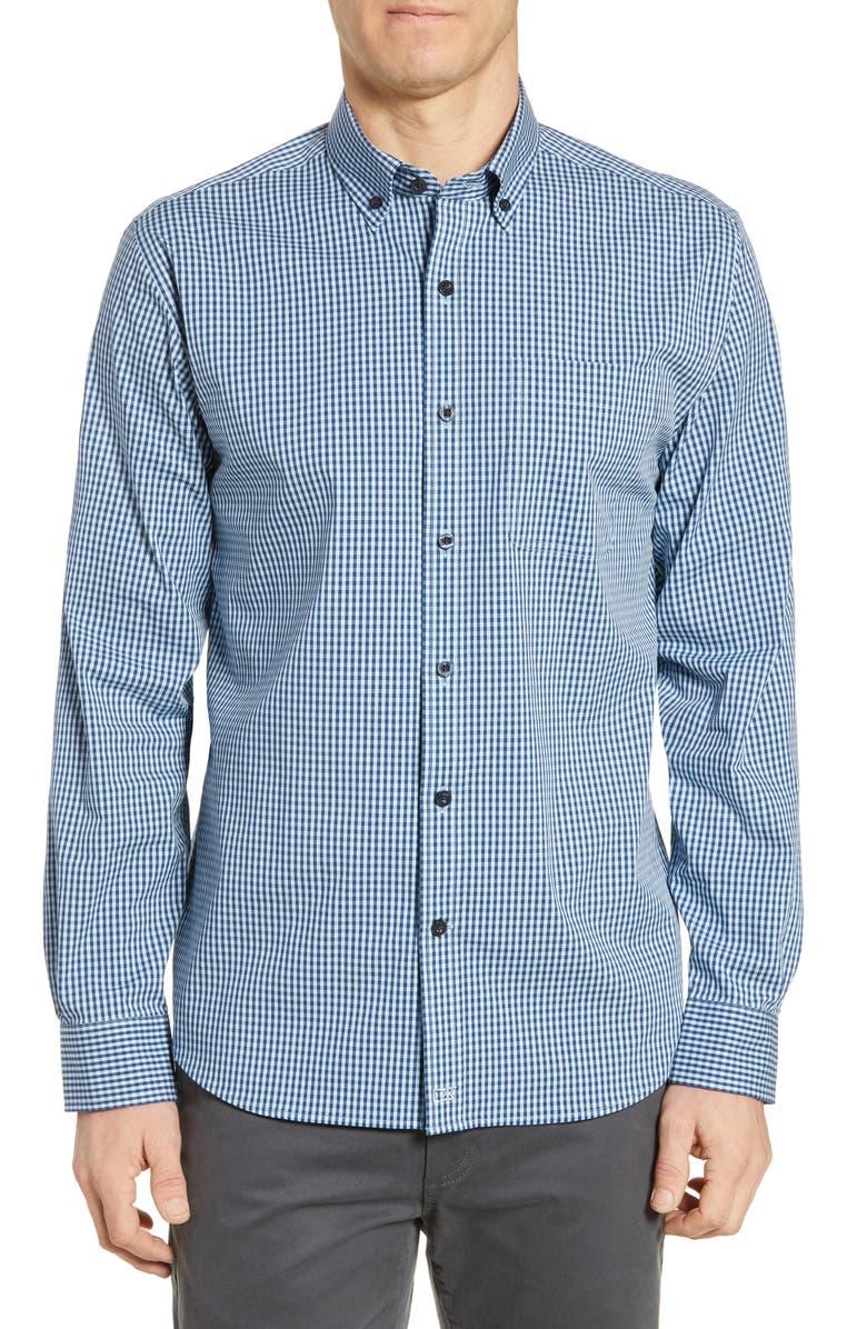 CUTTER & BUCK Anchor Classic Fit Gingham Shirt, Main, color, ZEN BLUE