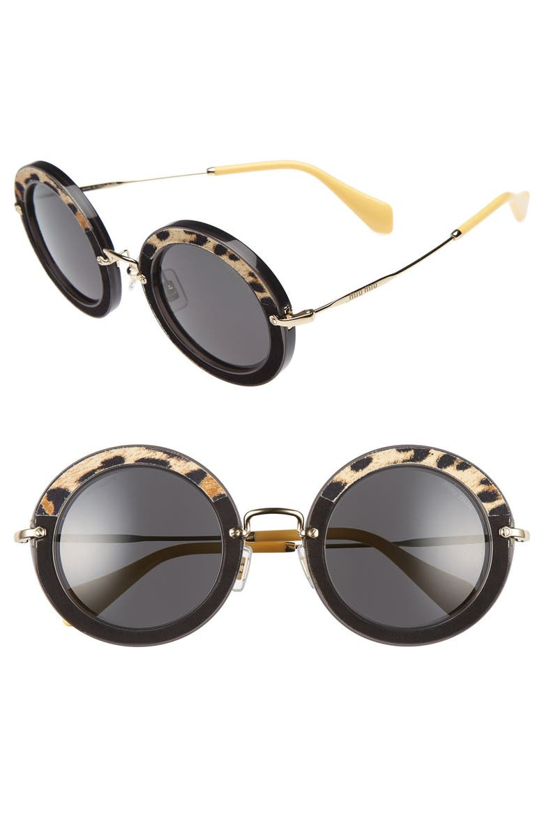 MIU MIU 48mm Round Sunglasses, Main, color, 020