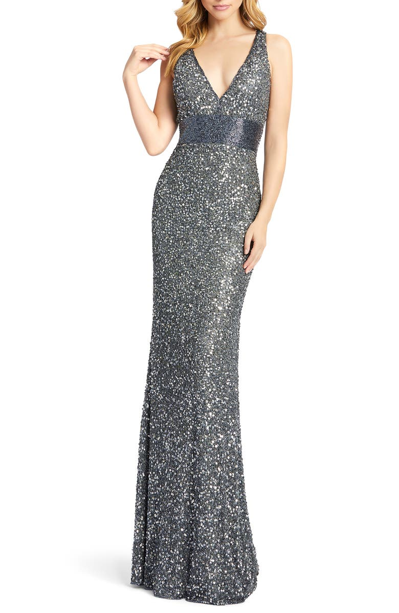 MAC DUGGAL Beaded Waist Evening Dress, Main, color, CHARCOAL
