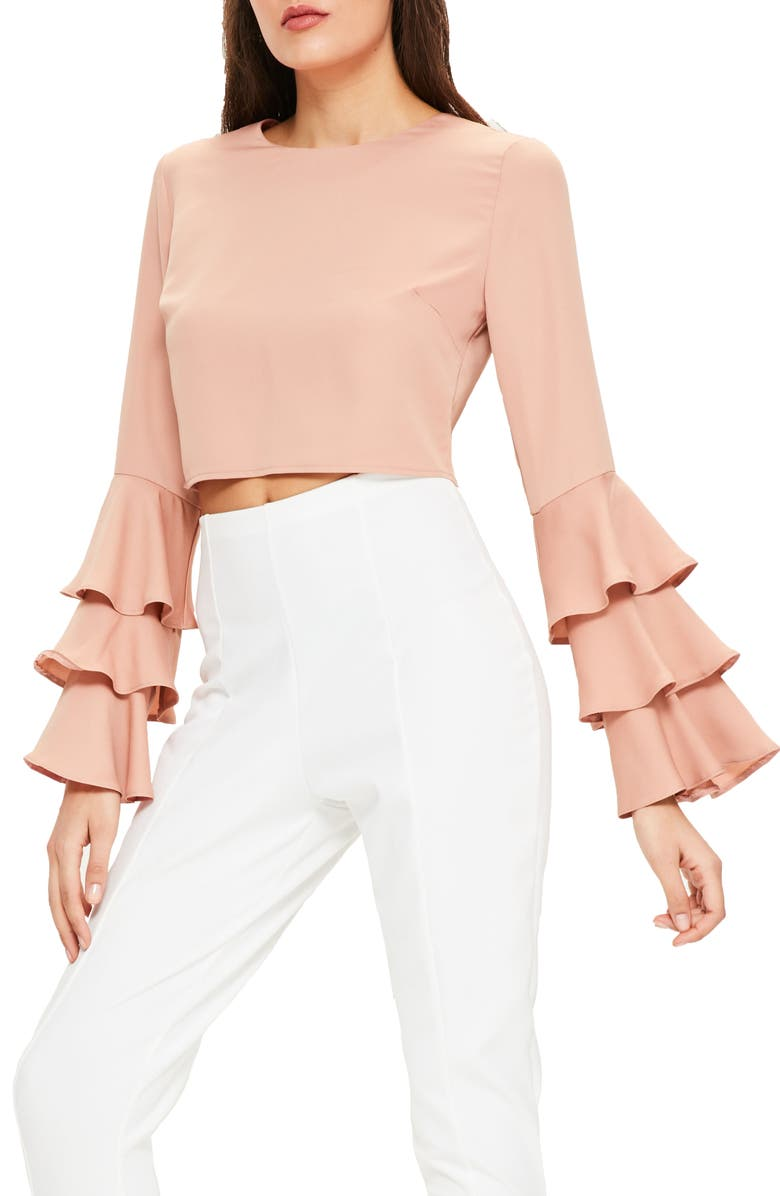 MISSGUIDED Ruffle Crop Blouse, Main, color, 252