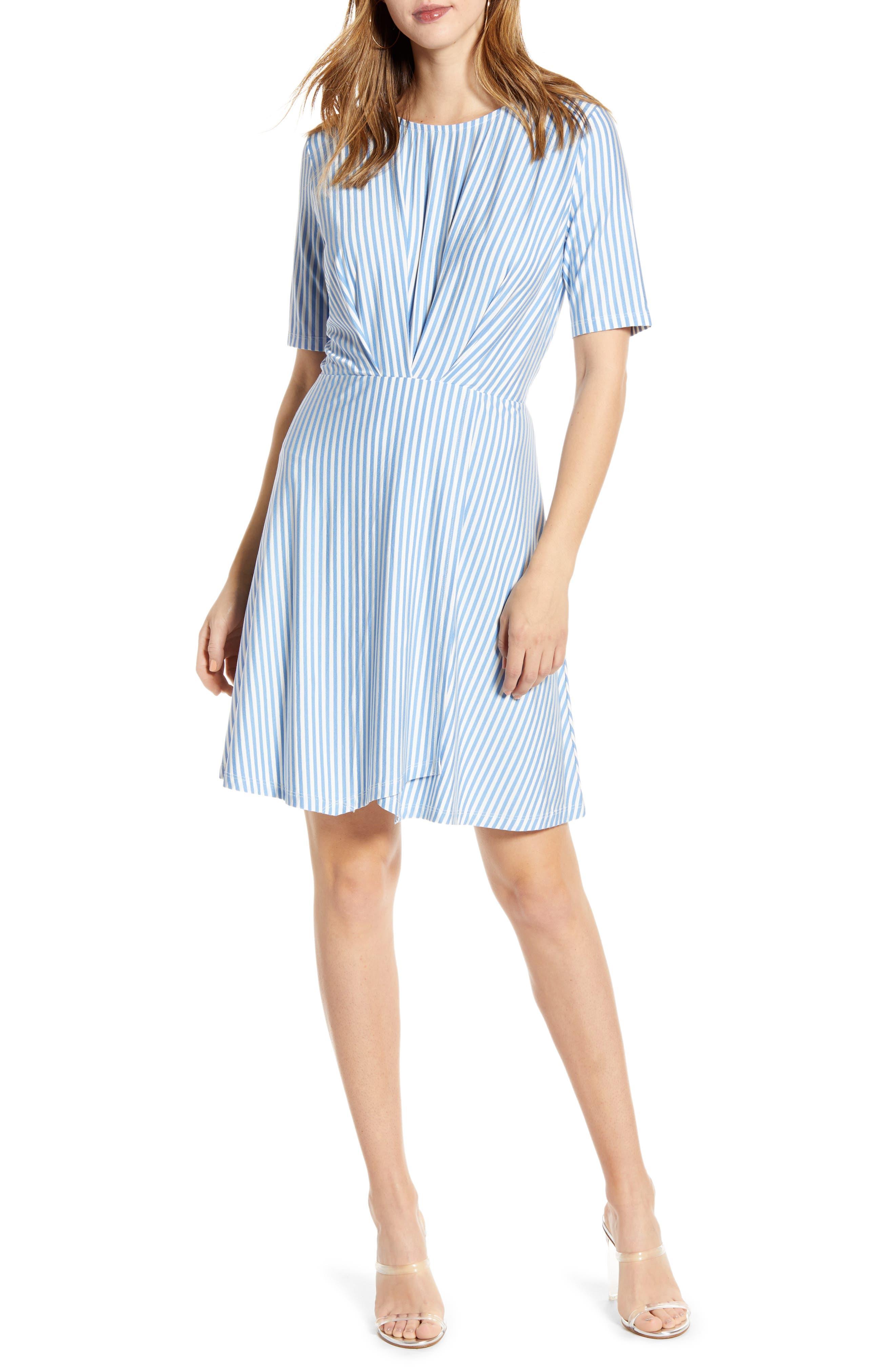 Vero Moda Striped A-Line Minidress, Blue