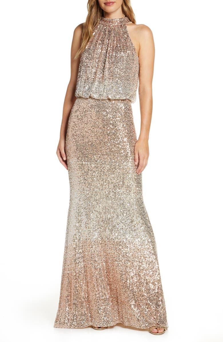 ELIZA J Sequin Halter Neck Blouson Evening Gown, Main, color, GOLD
