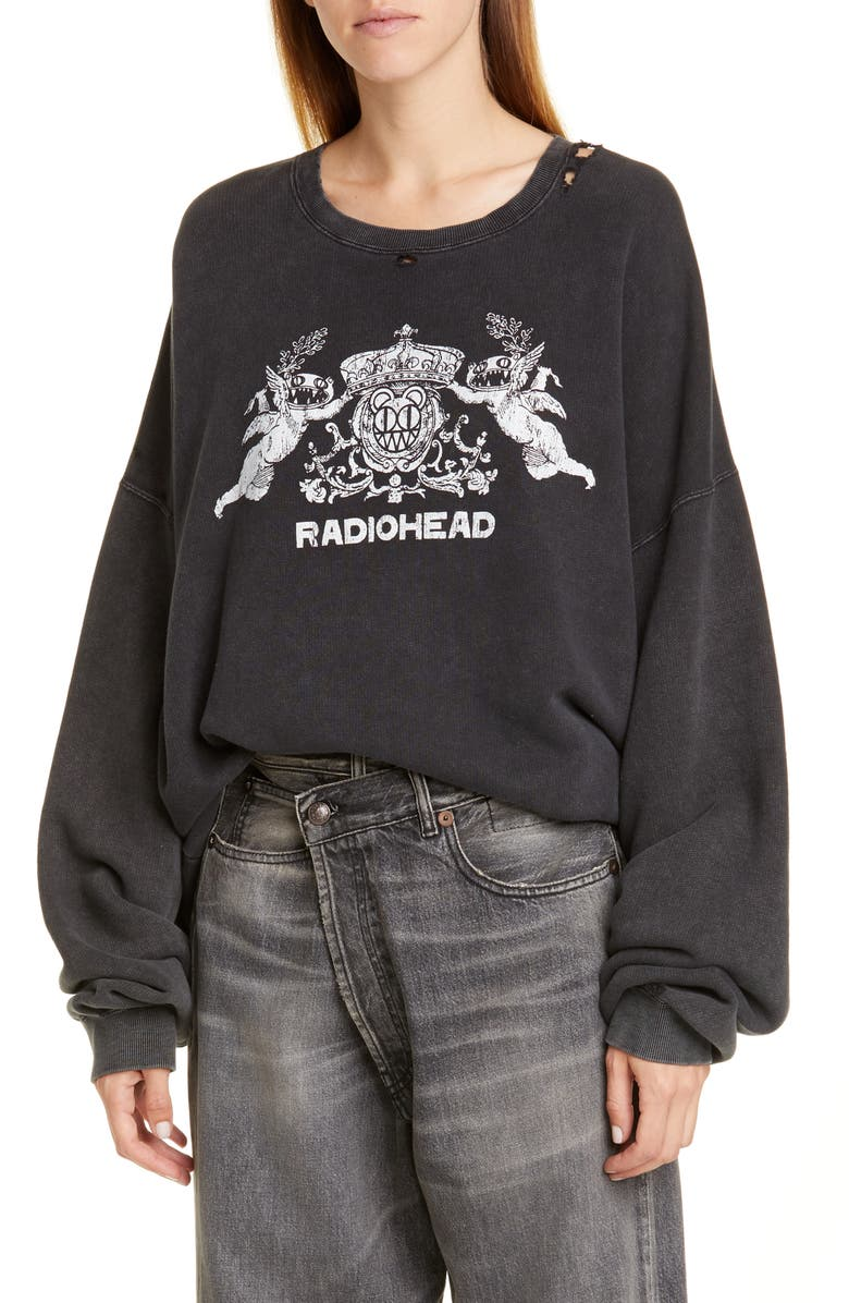 R13 Bearhead Crest Graphic Sweatshirt, Main, color, ACID BLACK