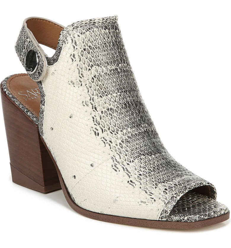 SARTO BY FRANCO SARTO Icelynn Open Toe Bootie, Main, color, SNAKE PRINT LEATHER