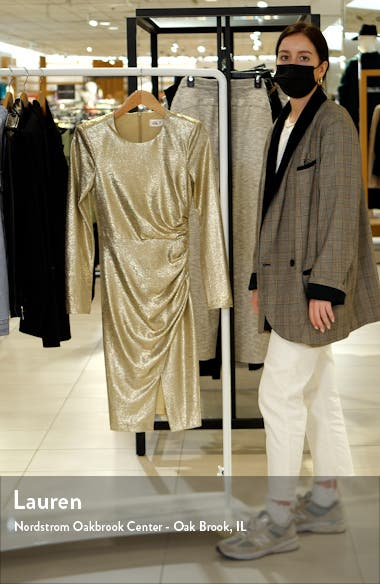Metallic Ruched Long Sleeve Sheath Dress, sales video thumbnail