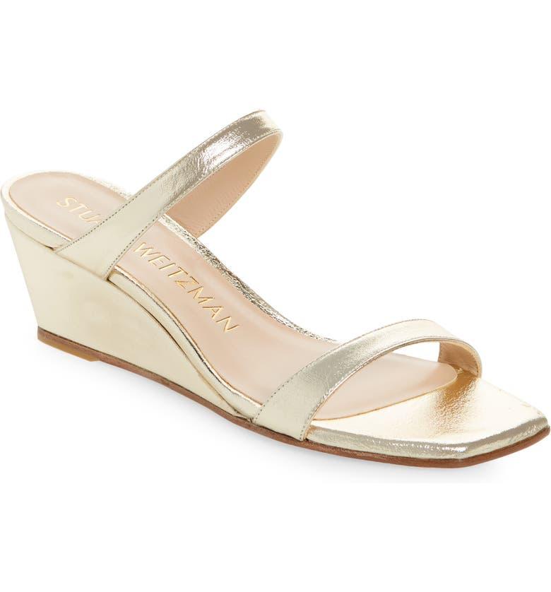 STUART WEITZMAN Aleena Wedge Slide Sandal, Main, color, PLATINO