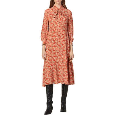Sandro Lanelle Paisley Tie Neck Midi Silk Dress, 4 FR - Red