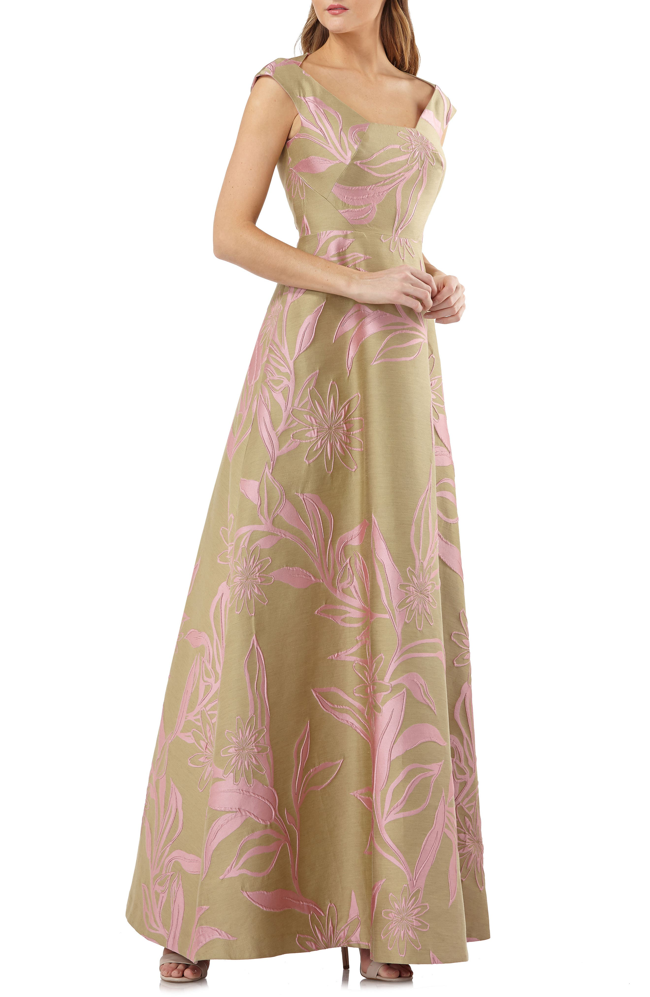 Kay Unger Extended Sleeve Floral Jacquard Gown, Green