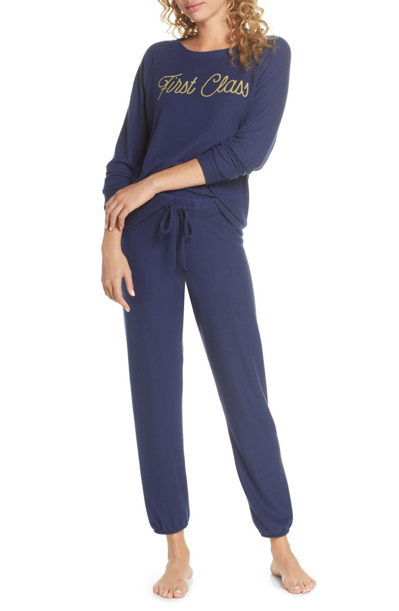 PROJECT SOCIAL T First Class Travel Pajamas, Main, color, NAVY