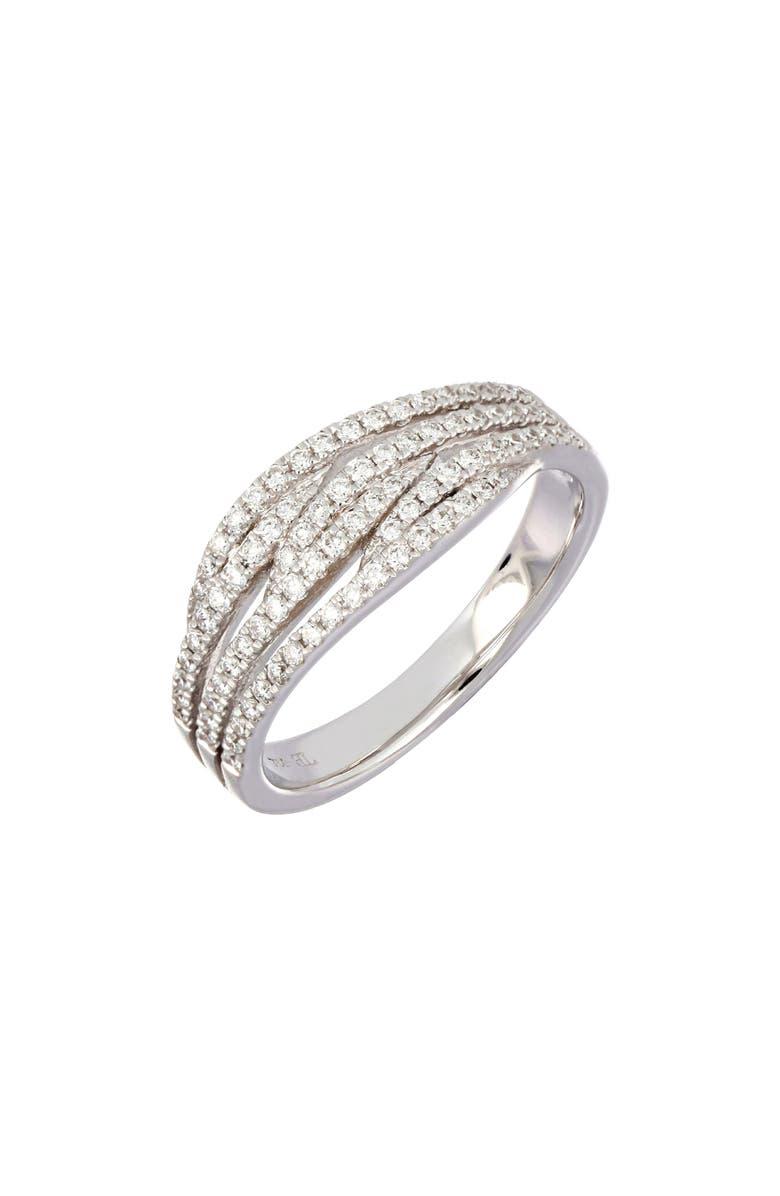 BONY LEVY Three-Row Intertwined Diamond Ring, Main, color, WHITE GOLD/ DIAMOND