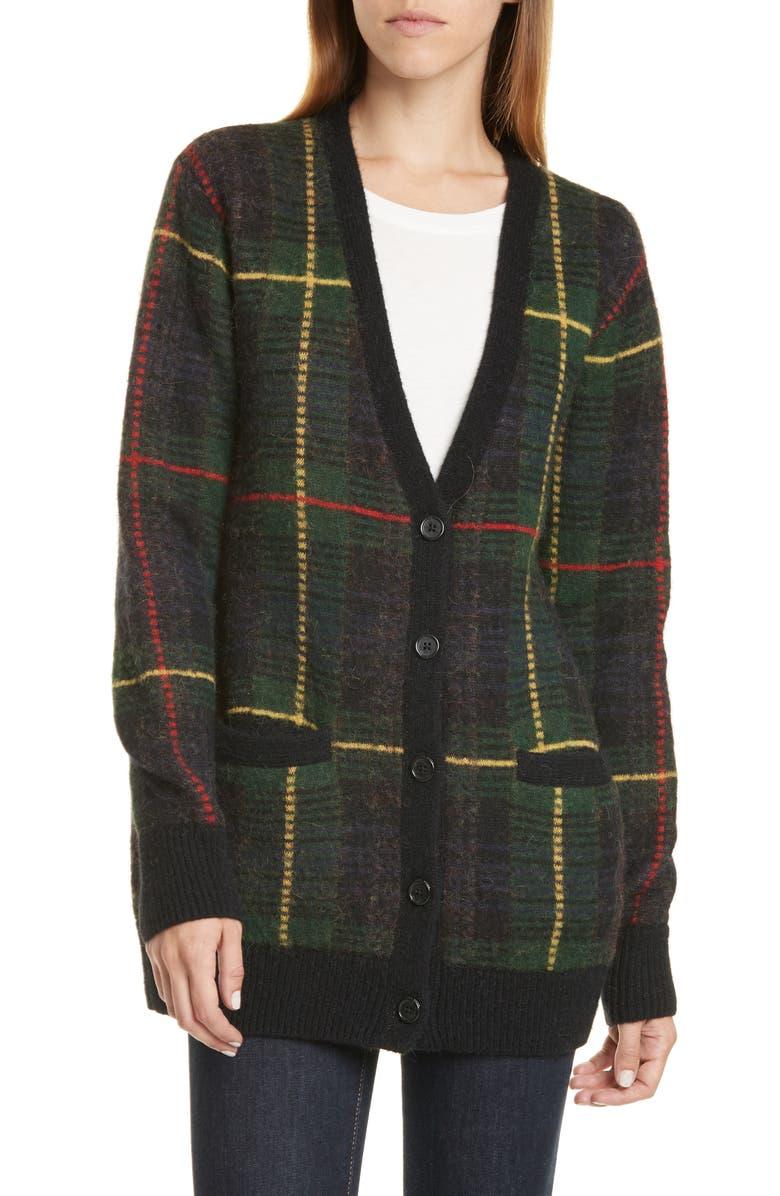 POLO RALPH LAUREN Tartan Wool Blend Cardigan, Main, color, MULTI