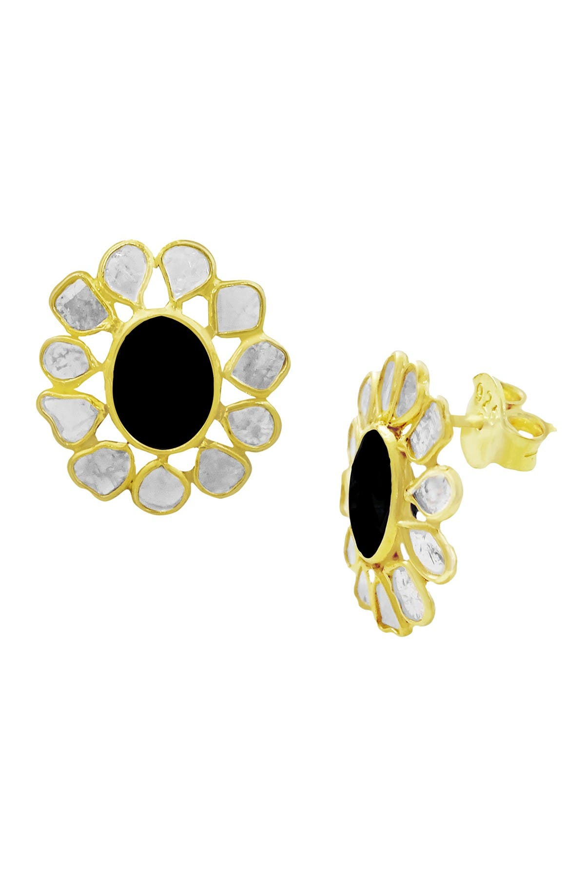 Savvy Cie 18K Gold Vermeil Sliced Diamond & Black Spinel Stud Earrings - 0.75 ctw at Nordstrom Rack