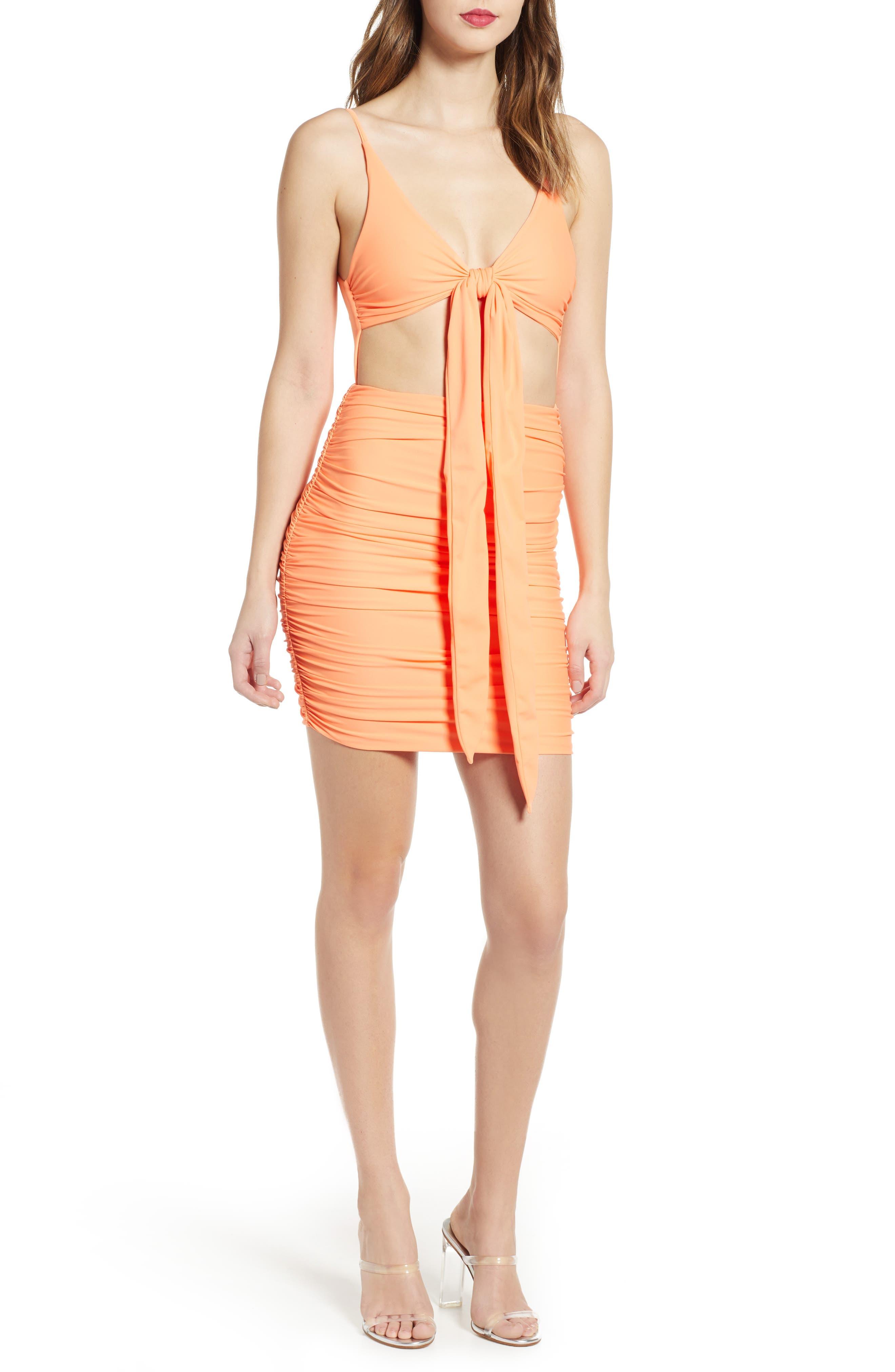 Tiger Mist Lilah Body-Con Dress, Orange