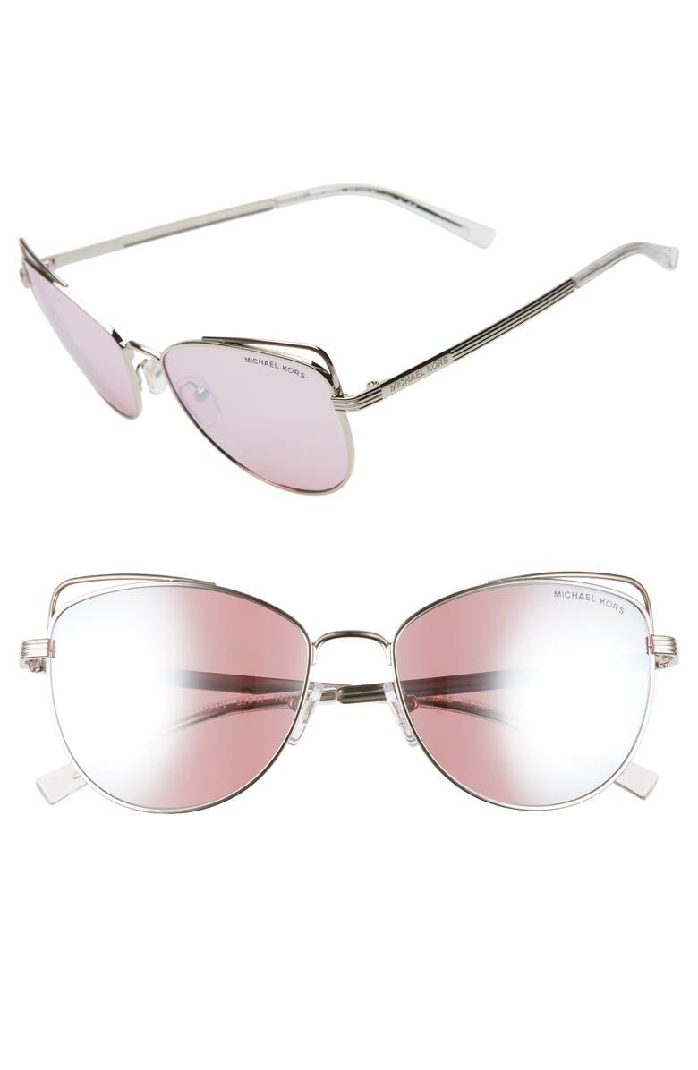MICHAEL KORS 55mm Mirrored Cat Eye Sunglasses, Main, color, SILVER/ PINK MIRROR