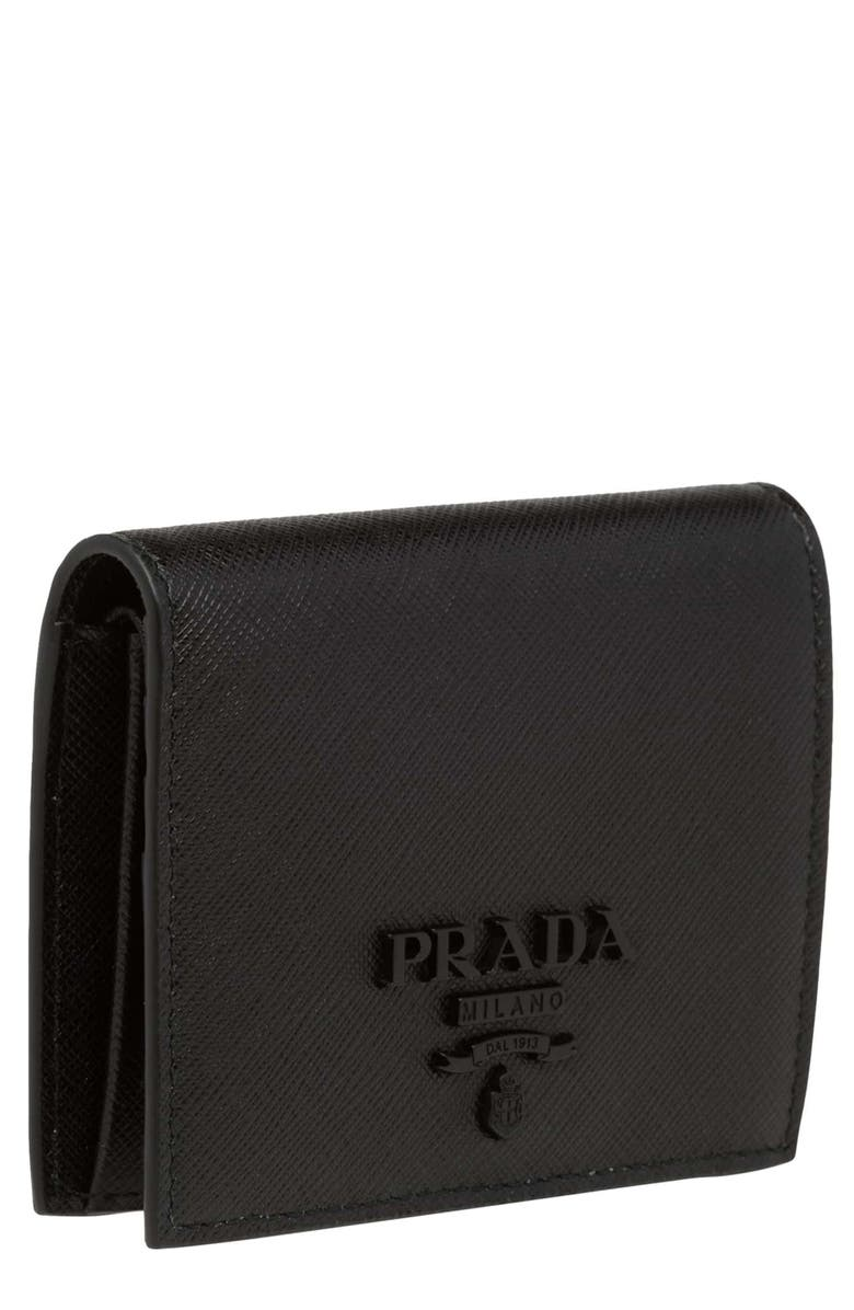 PRADA Monochromatic Logo Saffiano Leather Wallet, Main, color, NERO