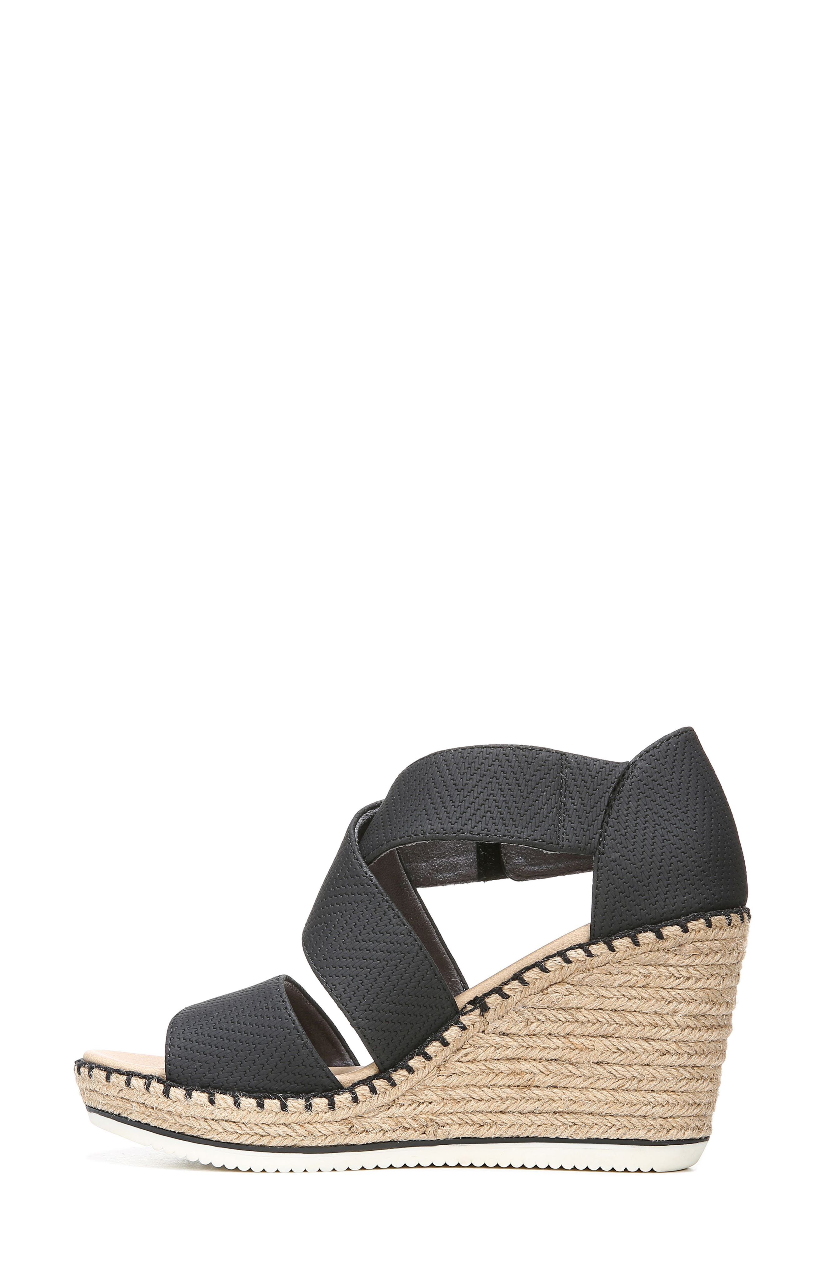 ,                             Vacay Wedge Sandal,                             Alternate thumbnail 9, color,                             BLACK FAUX LEATHER