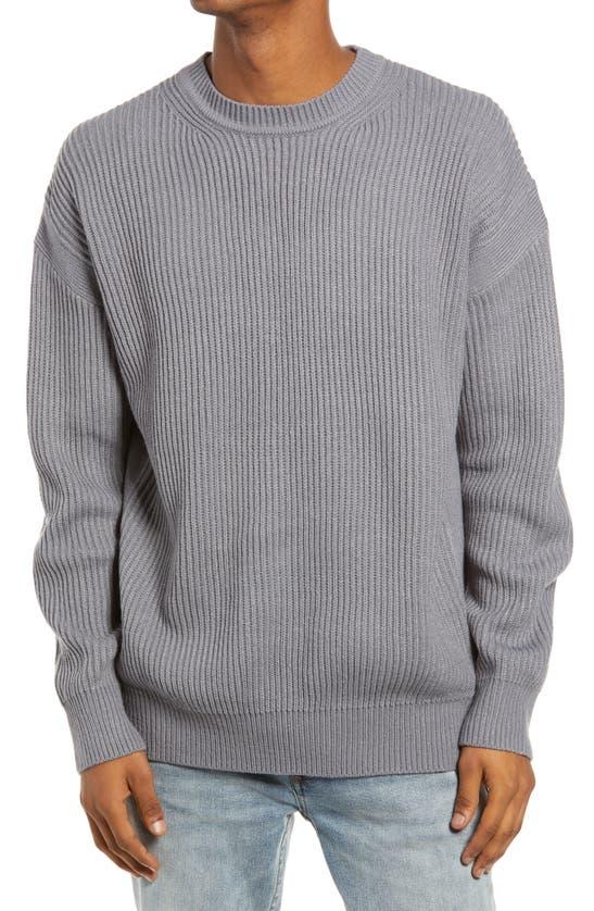 Topman Oversized Sweater In Gray-grey