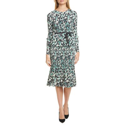 Boss Etalisa Long Sleeve Jersey Plisse Dress, Green