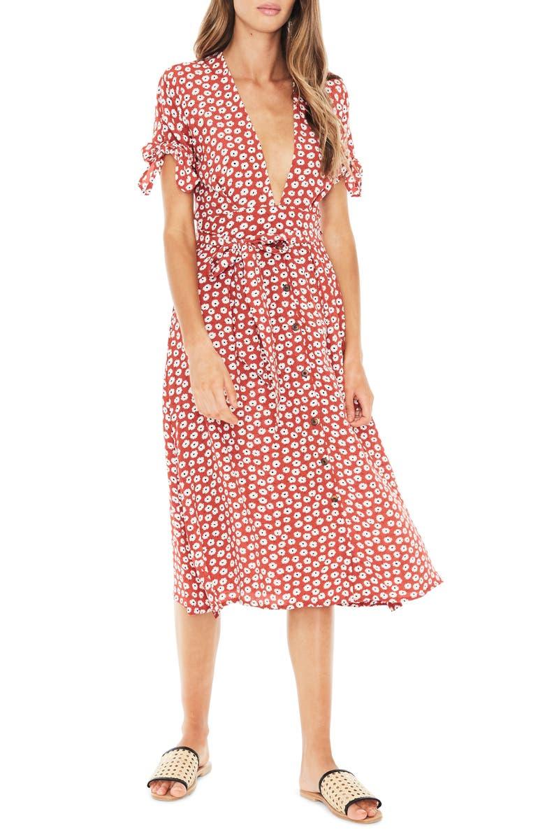new york pretty nice classic style FAITHFULL THE BRAND Nina Tie Cuff Midi Dress | Nordstrom